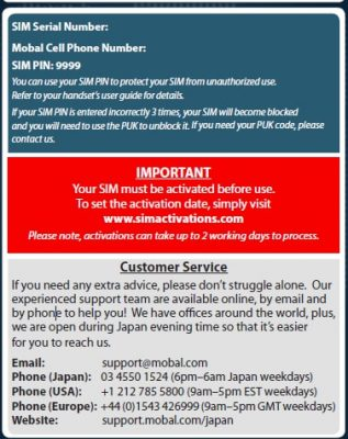 Activate the Japan Unlimited SIM Data and Voice online now