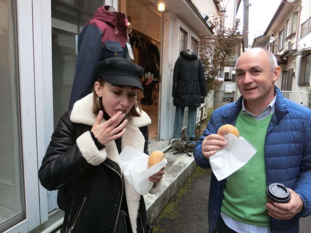 Trying the best donuts and coffee in Tokyo.